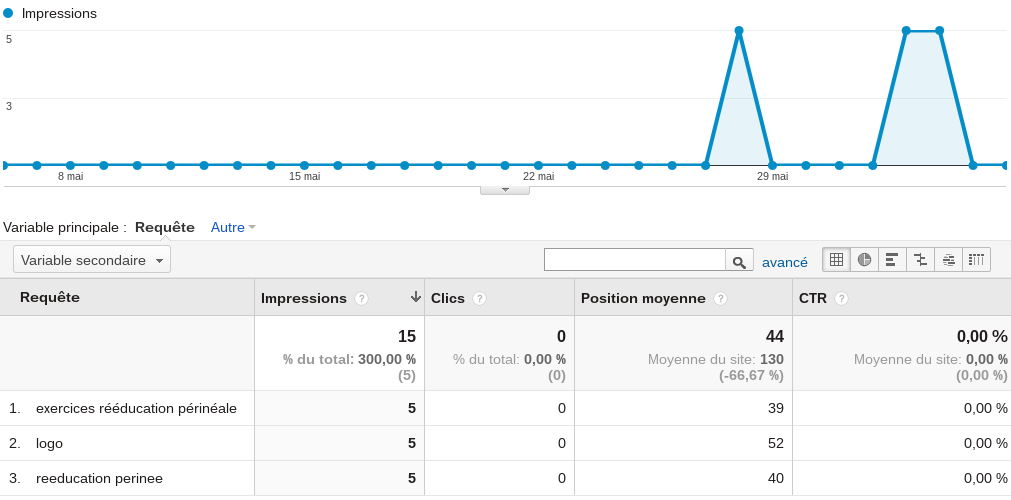 google analytics keywords référencés